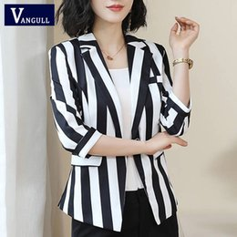 Office blazers online shopping - Vangull New Autumn Women Blazers Jackets Office Lady Suit Coat Fashion Slim White Black Strip Business Elegant Female Coat
