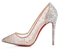 Venta al por mayor de Christias Louboutis C L zapatos de tacón alto de diseño 8 10 12CM zapatos de cuero poco profundos en punta de goma 35-42 04