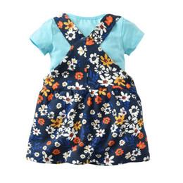 Опт 2019 европейских и американских девочек хлопок с короткими рукавами футболки с принтом ремень платье может открыть ребенок из двух частей юбка костюм