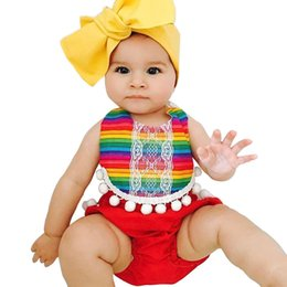 RubbeR necking online shopping - Baby Jumpsuit Girl Romper Round Collar Sleeveless Bandage Bare Backed Red Striped Lace Plush Ball Ornament Rubber Back Trousers Feet