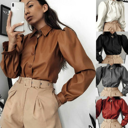 Wholesale blouse leather sleeves resale online - Women s Blouse Casual Faux Leather Lapel Puff Long Sleeve Button Shirt Blouse Tops BY