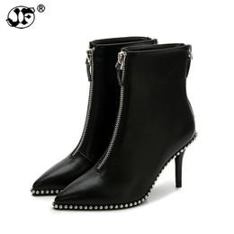 Ingrosso Nuove scarpe da donna sexy Rivet con strass Zip Stivali con tacchi alti Lady Stiletto Stivali con punta a punta Martin boot rosso bianco nero gg8