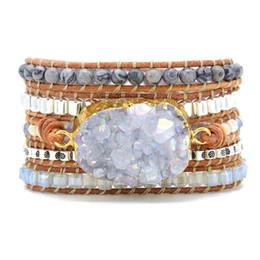 $enCountryForm.capitalKeyWord Australia - Leather Bracelets Unique Mixed Natural Stones Quartz Druzy Charm 5 Strands Wrap Bracelets Handmade Druzy Bracelet Dropship Y19062901