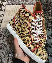 $enCountryForm.capitalKeyWord Australia - 2019 Hot Sale New Products Famous Design Men S Women S Leopard Horse And Gold Spike Shoes High To Help Red Sports Shoes, Brand Casual Shoes
