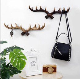 $enCountryForm.capitalKeyWord Australia - Wall hangs on the deer head Creative Wall Decoration Antler Hook American Home Personality Deer Head Wall Key Hook Clothes Hook