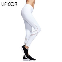 $enCountryForm.capitalKeyWord NZ - Womens Yoga Pants Fitness Sports Leggings Mesh Tight Leggings Capri Running Workout Gym Sweatpants Sports Clothes White&Black #879803