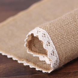 square table cloths NZ - Natural Jute Burlap Table Runner Square Table Cloth with White Lace on Both Edges JS23