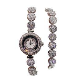 $enCountryForm.capitalKeyWord Australia - Quartz Watch For Women White Crystal Cubic Zirconia 925 Sterling Silver Charm Double Links Bracelet Wristwatch Beautiful Prom Gifts 35cm