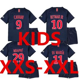 7d929cc6335 New 18 19 MBAPPE NEYMAR JR Kids Soccer Jersey Sets 2018 2019 Children  Maillot Foot Enfants Home Blue Uniform Kit Camisa Boys Football Shirt