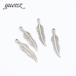 Horn cHarms online shopping - Cheap Charms YuenZ Antique Silver Feather Charms Metal Pendant Fit bracelet necklace earring Jewelry making mm D320