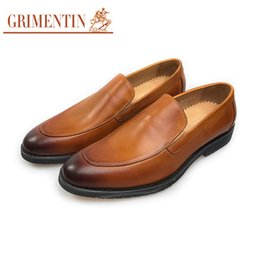 grimentin shoes UK - GRIMENTIN Fashion Brand 2020 Newest Men Shoes Genuine Leather Orange Formal Business Office Shoes Hot Sale Fashion Slip On Mens Casual Shoes
