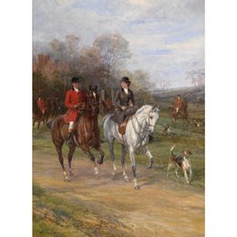 couple painting art UK - Canvas art oil Paintings Couple Riding with Their Dogs Heywood Hardy Hand painted Landscapes artwork for bedroom decor