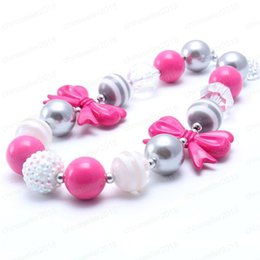 Fashion children jewelry necklaces online shopping - Lovely Bow Beads Kid Chunky Necklace Hot Pink Silver Color Fashion Bubblegum Bead Chunky Necklace Children Jewelry For Toddler Girls