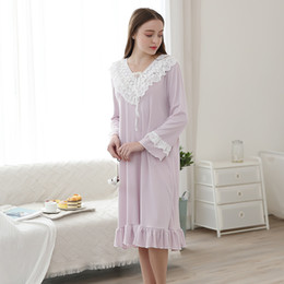 Long Nightdresses Cotton Australia - Cotton long-sleeved nightdress Multi-color optional Ruffled lace collar Loose and comfortable Soft and light Price Beautiful