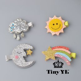 $enCountryForm.capitalKeyWord Australia - 1 PCS New Design Cute Moon Hair Clips Sparkly Sun Glitter Rainbow Felt Animal Hairpin Girls Children Hair
