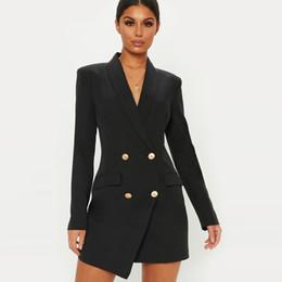 $enCountryForm.capitalKeyWord Australia - Solid Long Sleeve Women Autumn Office Blazer Suit 2019 Hot Casual Two -row Bag Long Coat Ladies Ol Style Blazer Overcoat