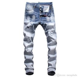 men ripped jeans size 38 Australia - Wholesale slp blue black destroyed mens slim denim straight biker skinny jeans Casual Long men ripped jeans Size 28-38 free shipping 001