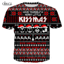 Wholesale christmas t shirts plus size online – design Heavy Metal Rock KISS Band T shirt Plus Size Short Sleeve T shirts D Print Christmas KISS Personality Couples Tee Tops