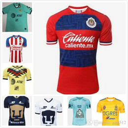 free shipping soccer jersey UK - DHL Free shipping 2019 2020 LIGA MX Club America soccer Jerseys 19 20 UNAM Chivas Tigres PachucaCF soccer Jerseys Size can be mixed batch