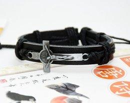 Leather Crosses Wholesale NZ - Cross small wholesale spot leather alloy jewelry bracelet Christian cross bracelets bracelets with hand Free shipping