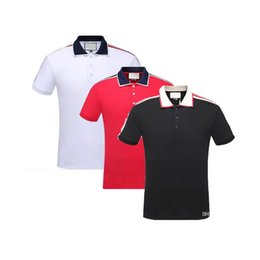 China new-t Italy designer polo shirt t shirts Luxury Brand snake bee floral embroidery mens polos High street fashion stripe print polo T-shirt cheap new street fashion brand suppliers