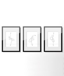 Painting ballet dances online shopping - Abstract Ballet Set of prints One Continuous Line Print Dancing Artwork Original Minimalist Dance Poster Drawing Wall Art