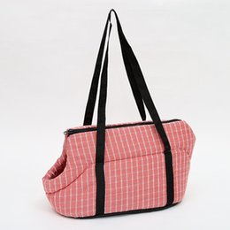 Pet Carrying Bags Australia - New Plaid Dog Carriers Breathable Travel Puppy Bags Dogs Carrying Shoulder Bags Carrying Handbags for Dogs Pet Products