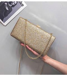 box handbags NZ - Evening Bags New sequins fashion retro dinner package box chain double mouth his hand lock handbag