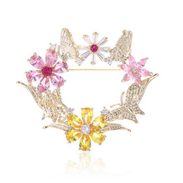2b78cacfc XIUMEIYIZU Gorgeous Color Zircon Flower and Butterfly Scarf Holder Scarf  Buckle Dress Suit Brooch Pins for Women