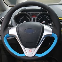 $enCountryForm.capitalKeyWord NZ - Black Natural Leather Light Blue Natural Leather Car Steering Wheel Cover for Ford Fiesta 2008-2013 Ecosport 2013-2016