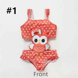 Kids Girls One Piece Animals Dots Printed Bathing Suit.Super soft,suitable for children's sensitive skin. on Sale