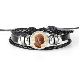 Cheap Men Jewelry Sets Australia - 2019 Fashion Women Men Leather Rope Beaded Bracelet 12 Constellations Zodiac Virgo Time Gem Glass Dome Charm Jewelry Accessories Cheap Price