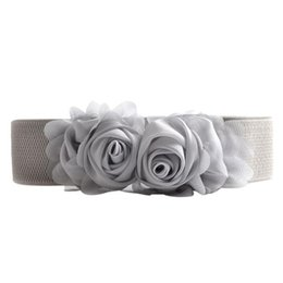 chain belts for dresses UK - 2019 Belt For Women Girls Fashion Elastic Waistband Chiffon Roses Slender knitted Small Fresh Belt Lady Dress Accessories