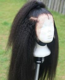 Glueless yaki silk top wiG online shopping - 180 Density Kinky Straight Full Lace Wig Silk Top Malaysian Human Hair Yaki Silk Base Glueless Lace Front Wigs Natural Hairline