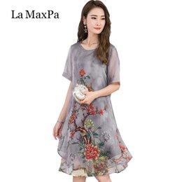 $enCountryForm.capitalKeyWord Australia - La Maxpa 2019 Women Summer Dress Floral Print Chiffon Dress Casual O-neck Short Sleeve Loose Dresses Long Plus Size Vestidos MX190725