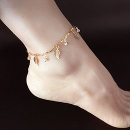 sexy feet accessories UK - Sexy Simple Gold Anklet Ankle Bracelet Leaf Foot Chain Adjustable Women Gifts Jewelry Findings Wholesale Fashion Accessories