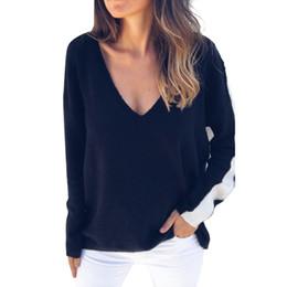 $enCountryForm.capitalKeyWord UK - Women Ladies Stripe Jumper Long Sleeve All Oversized Baggy Knit Wear Tops V-neck Off Shoulder Sweater Splice