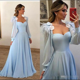 $enCountryForm.capitalKeyWord UK - Elegant Light Blue Evening Dresses 2020 3D Floral Appliques Feather Long Sleeves Prom Dress Long Cheap African Formal Party Gowns Chiffon