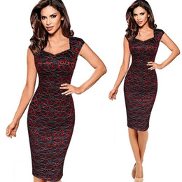 Red Bodycon Suits Australia - Womens Elegant Vintage Rockabilly Sequins Floral Lace Pinup Square Neck Lady Work Casual Party Fitted Bodycon Pencil Dress Suit Y19051501