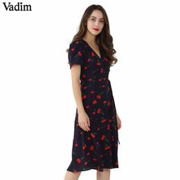 Vintage Style Line Dress Pattern Australia - Vadim Vintage V Neck Floral Pattern Midi Wrap Dress Cherry Dress Bow Tie Cross Design Short Sleeve Retro Vestido Mujer Qz3506 T19052805