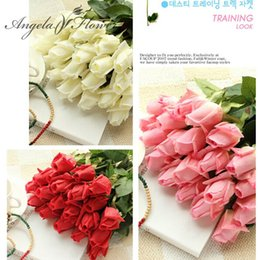 Fresh White Rose Flowers Australia - Free Shipping(11pcs Lot) Fresh rose Artificial Flowers Real Touch rose Flowers, Home decorations for Wedding Party or Birthday D19011101