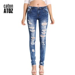 1133809c7b5333 catonATOZ 2045 Low Waist Distressed Jeans New Ladies Cotton Denim Pants  Stretch Womens Ripped Skinny Denim Jeans For Female D18111206