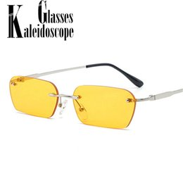 6c63bd13bb Rectangle Rimless Sunglasses Women Vintage Brand Designer Cat Eye sun  Glasses Men Retro Small Yellow Glass UV400