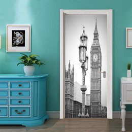 $enCountryForm.capitalKeyWord NZ - 2Pcs Set Fake Door Stickers London Style Big Ben Street Mural Home Decoration City Scenery Vinyl Wallpaper