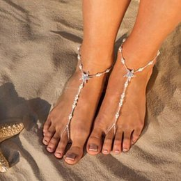 Pearl Barefoot Sandals Bridal Australia - Sexy Starfish Anklets Beach Fashion Jewelry White Sea Star Barefoot Sandals Beaded Chain Ankle Bridal Foot Jewelry gift