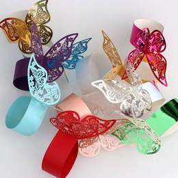Wholesale New 50Pcs Butterfly Napkin Rings Decor New Year hollow Paper Weddings Party Serviette Table Decoration Favor for Christmas