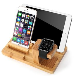 Bamboo Tablet Stand Australia - Mobile Phone Desktop Holder Stand for iPad Tablet Bracket Real Bamboo wood Charging Stand for Apple Watch Pad Phone Tablet