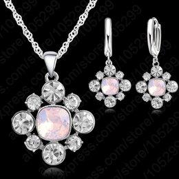 $enCountryForm.capitalKeyWord Australia - Beautiful 925 Sterling Silver Bridal Necklace Earring Gift Full Austrian Crystal Engagement Party Fashion Wedding Jewelry Sets