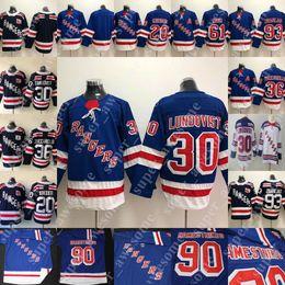 30 Henrik Lundqvist Jersey 36 Mats Zuccarello 93 Mika Zibanejad 20 Chris  Kreider 61 Rick Nash Hockey Jerseys Men Women Youth Blue White 5b1f956ed