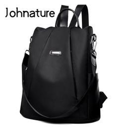 Strap Backpacks Australia - Johnature 2019 New Arcuate Shoulder Strap Zipper Casual Soft Handle Softback Solid Fashion Thread Women Backpack